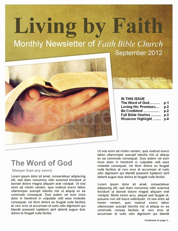 Living by Faith Church Newsletter Template