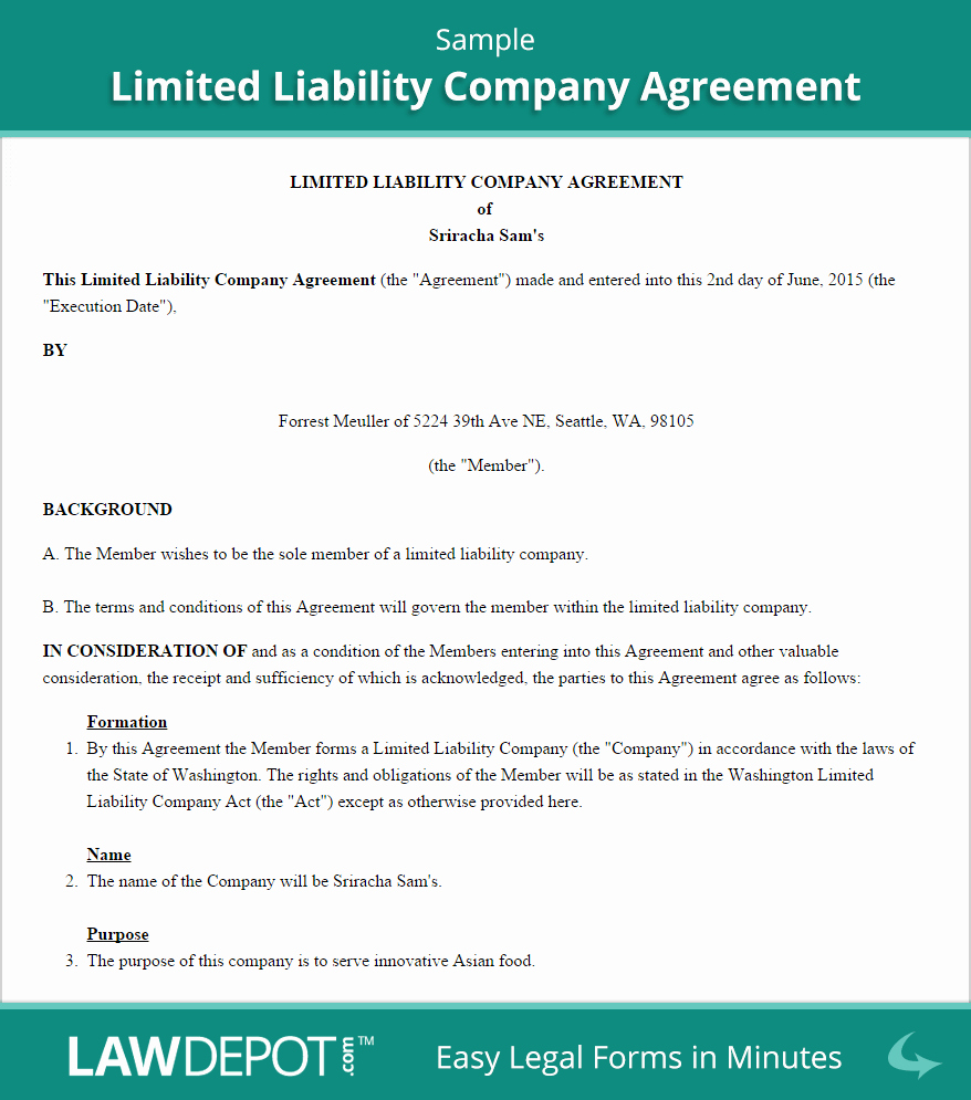 Llc Operating Agreement Template Us