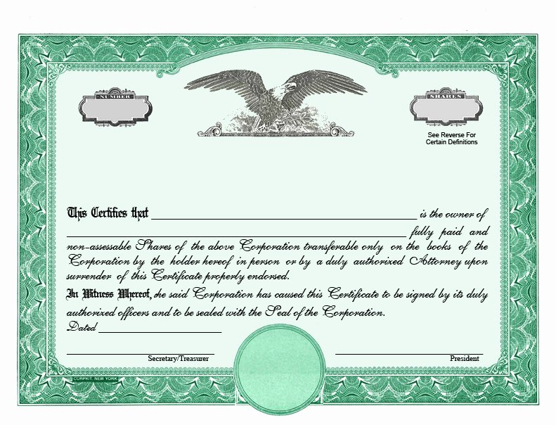 Llc Stock Certificate Template Free Templates Resume