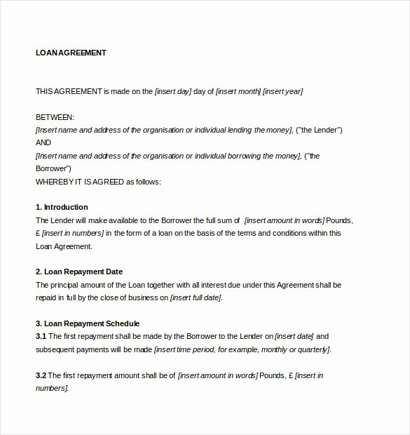 Loan Agreement Template – 11 Free Word Pdf Documents