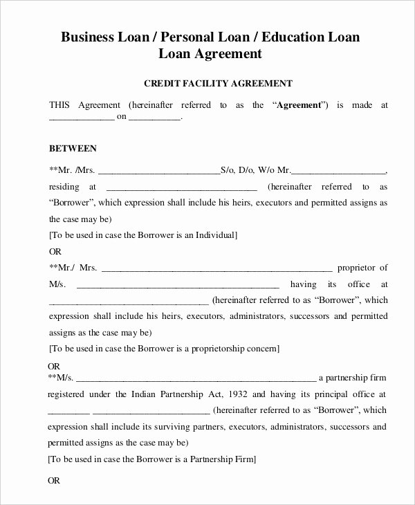 Loan Agreement Template 16 Free Sample Example format