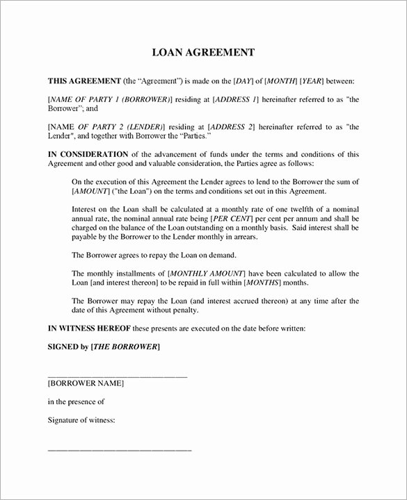 Loan Contract Template – 20 Free Word Pdf Documents