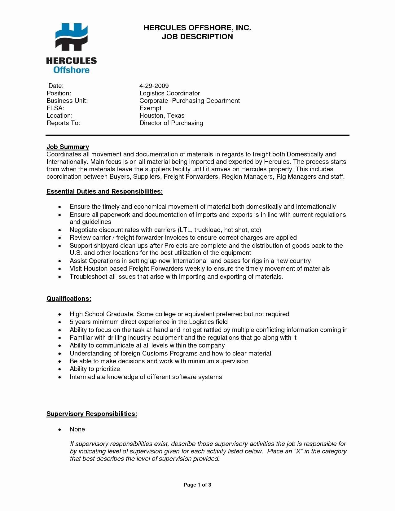 Logistics Coordinator Resume Sidemcicek