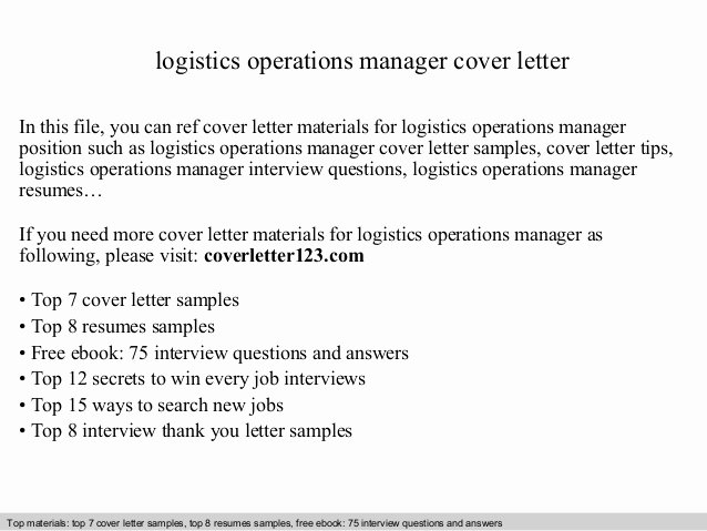 Logistics Operations Manager Cover Letter