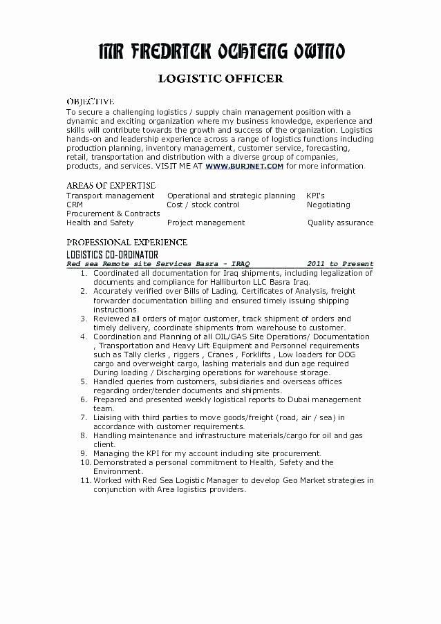 Logistics Resume Sample Sample Logistics Manager Resume