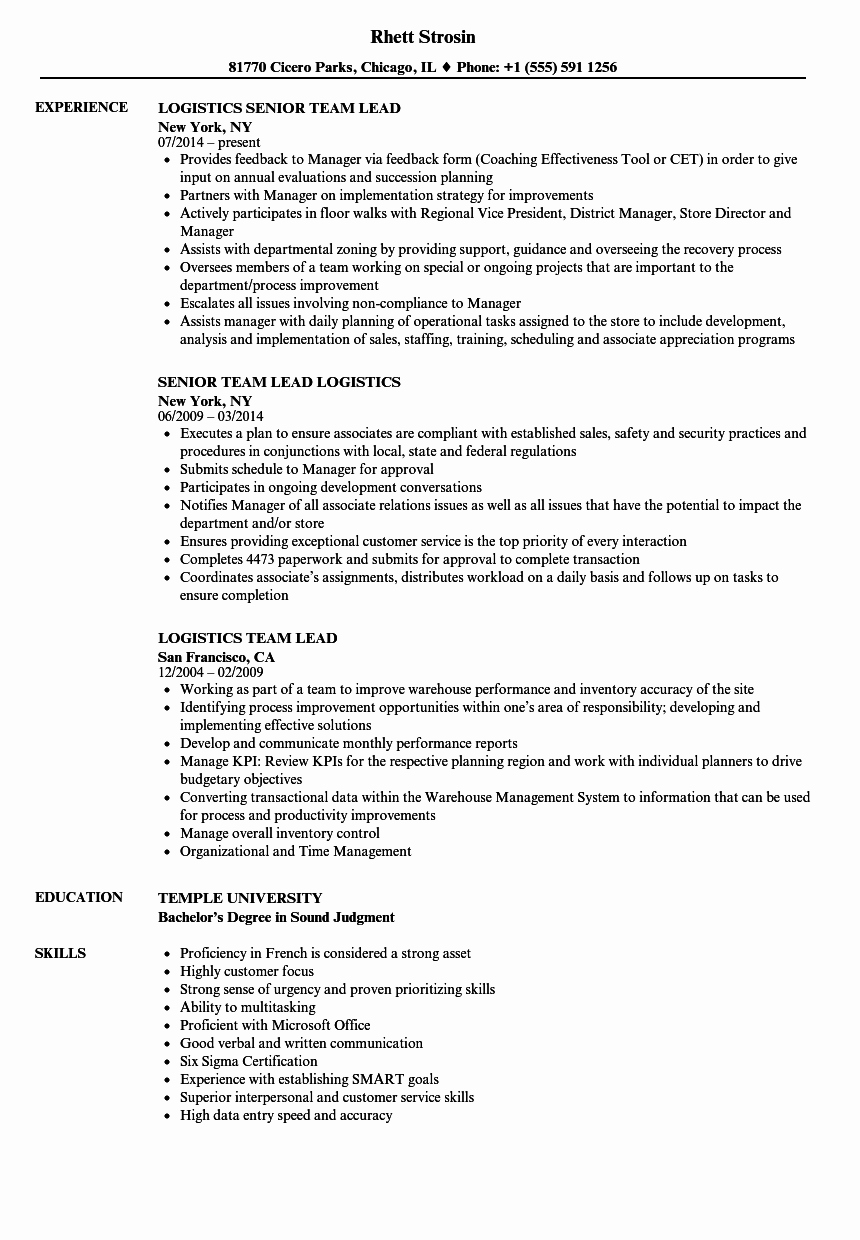 Logistics Team Lead Resume Samples
