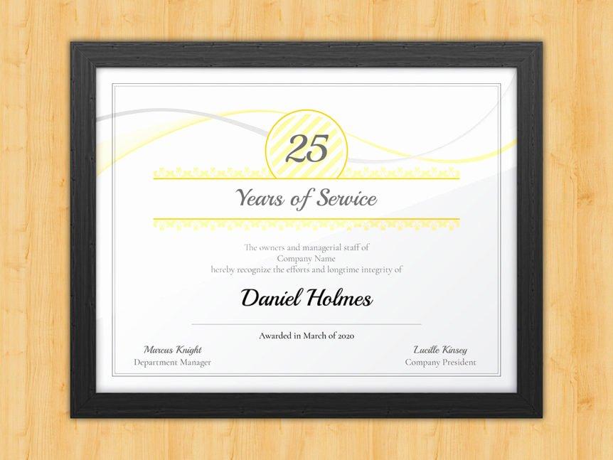 Longevity Years Of Service Certificate Award Avenue