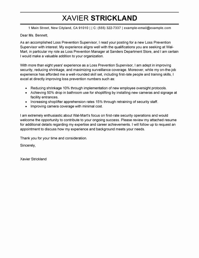 Loss Prevention Supervisor Cover Letter Sample My