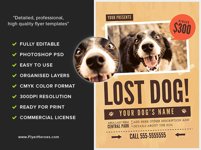 Lost Dog Flyer Template 1 Flyerheroes