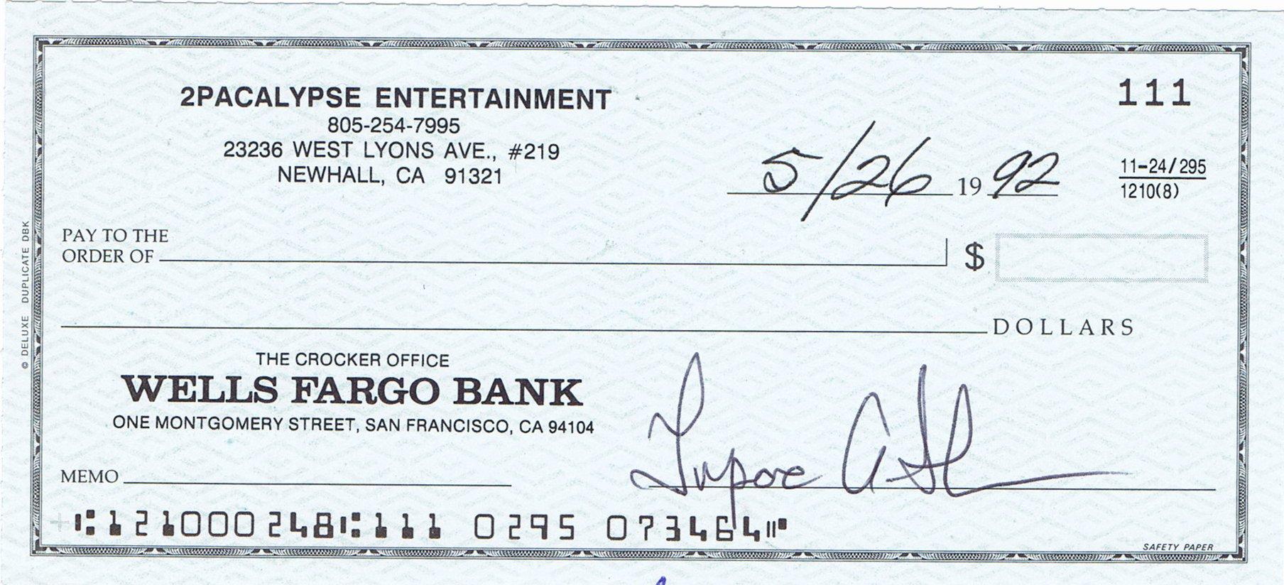 Lot Detail Tupac Shakur Signed Business Bank Check Jsa