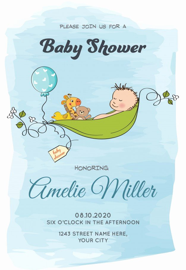 Lovely Baby Boy Shower Card Template Vector
