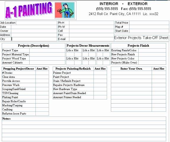 Lovely Exterior Paint Estimator 9 Painting Estimate form