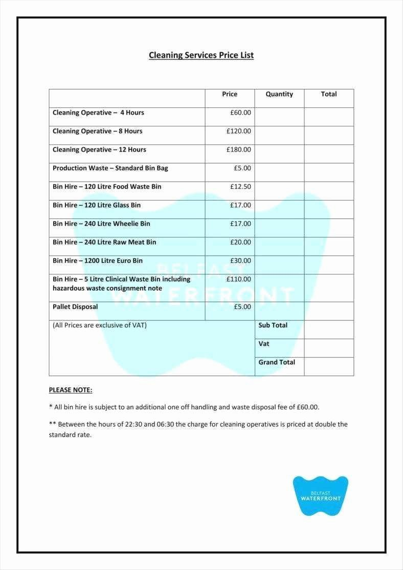 Lovely Mercial Cleaning Services Price List Template