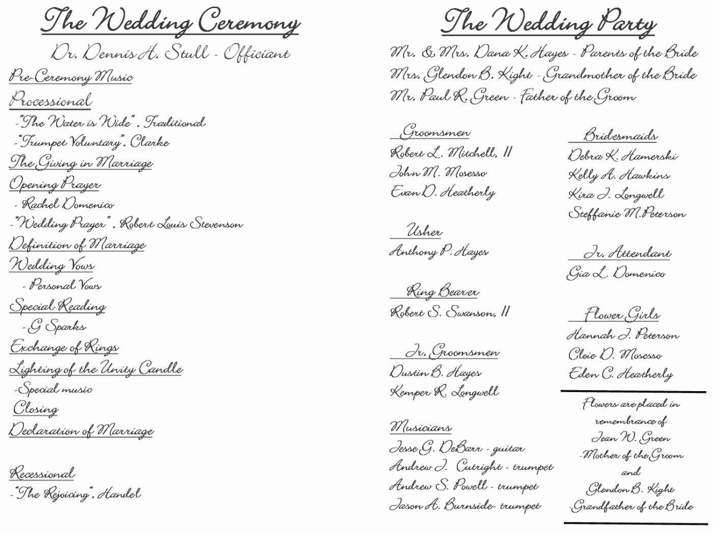 Lovely Microsoft Word Jewish Wedding Program Template