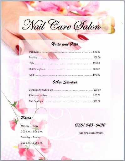 Lovely Salon Price List Template