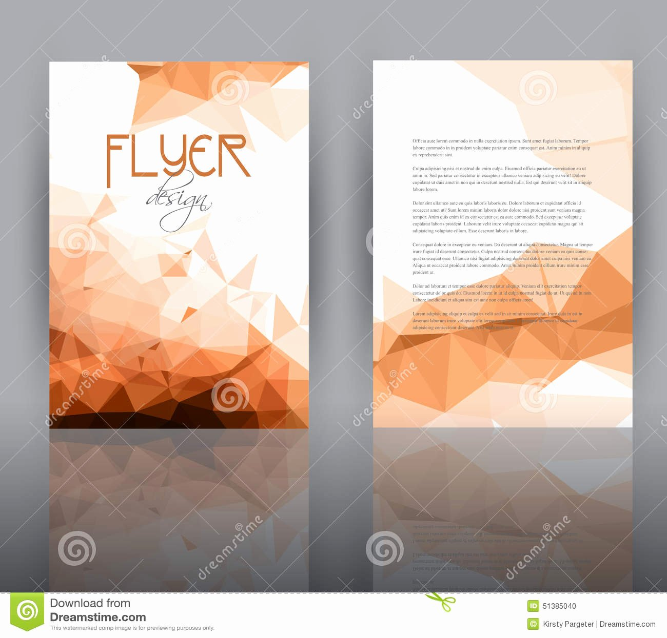 Low Poly Design for Flyer Template Stock Vector Image
