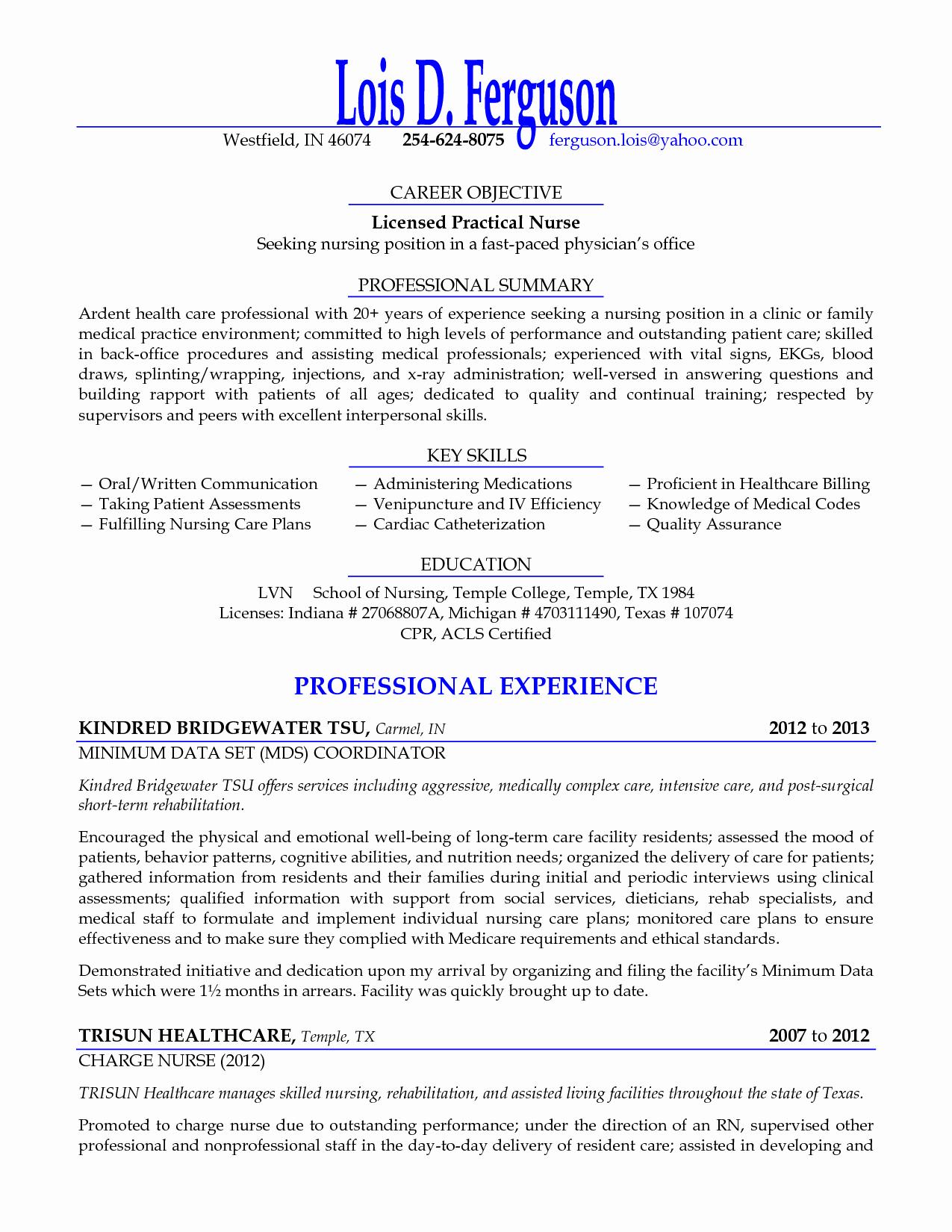 Lpn Resume Summary Skills Sidemcicek