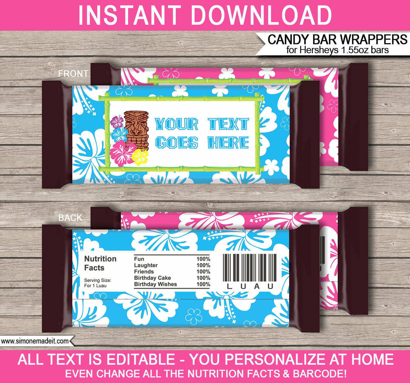 Luau Hershey Candy Bar Wrappers