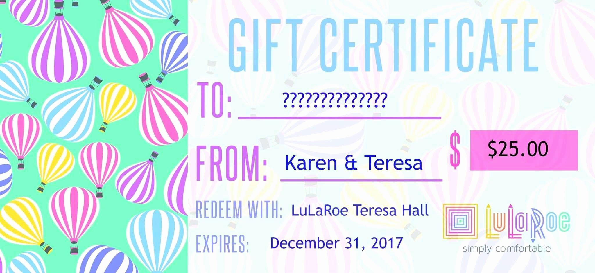 Lularoe Gift Certificate Beautiful Lularoe T Certificate