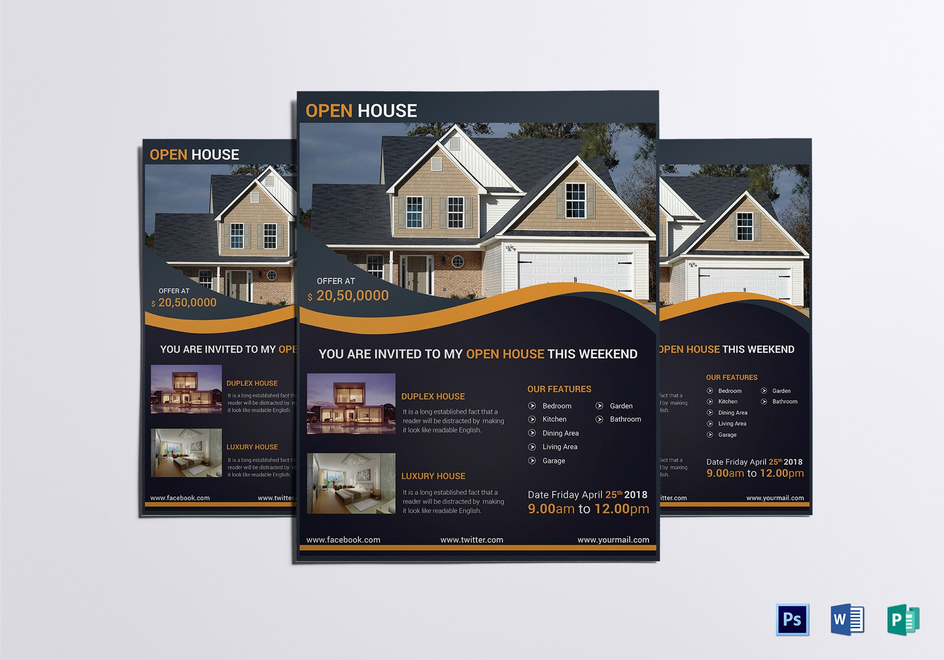 Luxury Open House Flyer Design Template In Word Psd