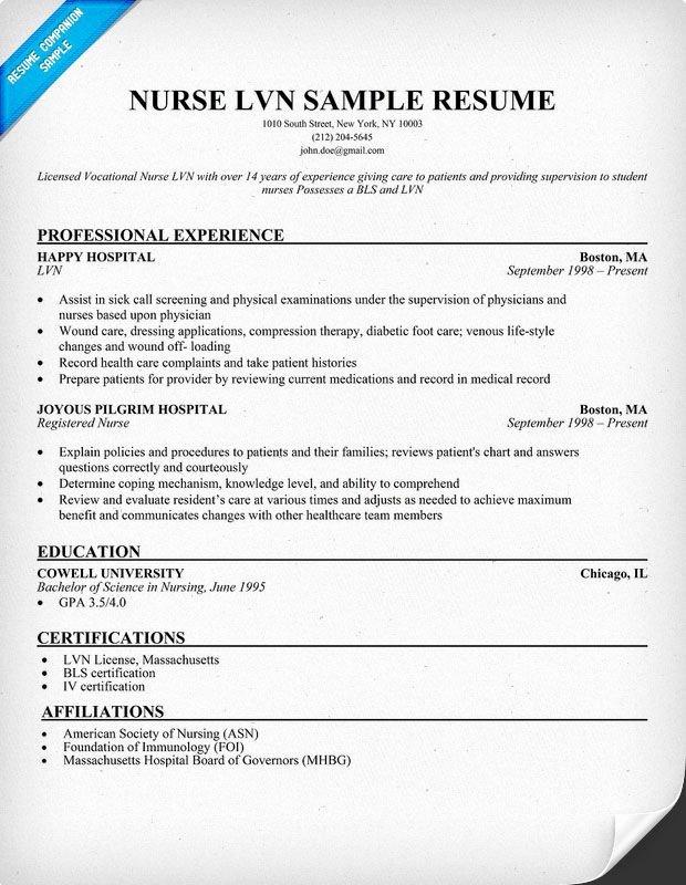Lvn Nurse Resume Sample