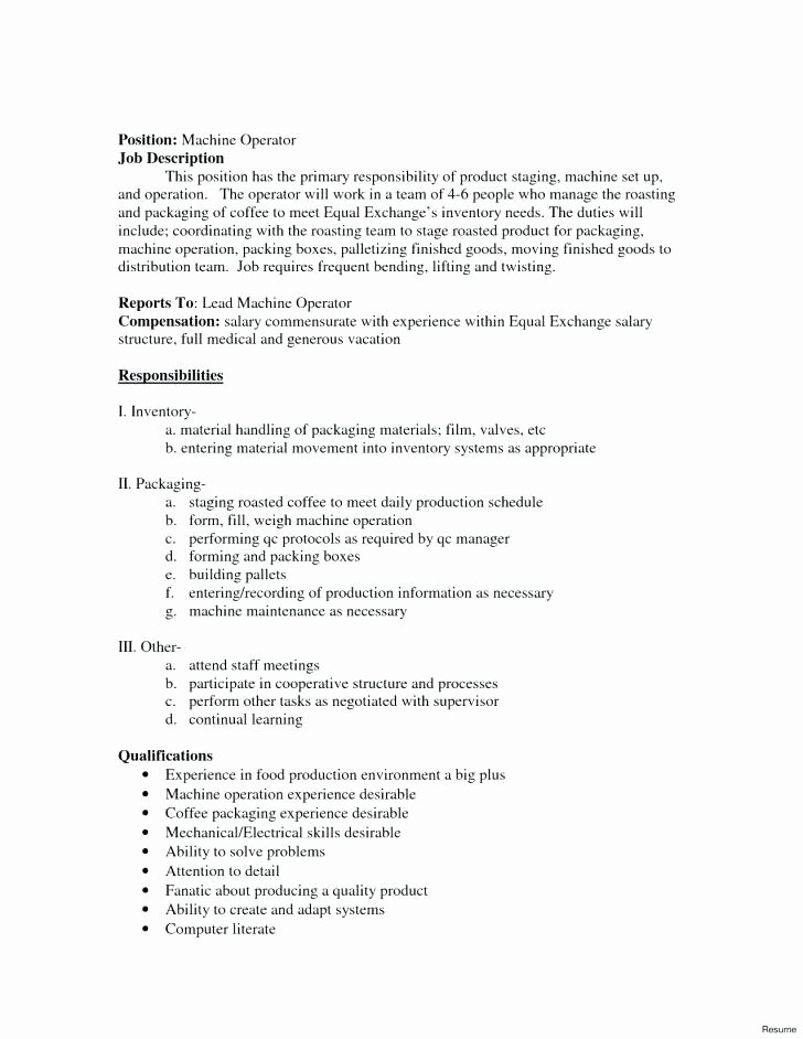 Machine Operator Job Description for Resume Elegant