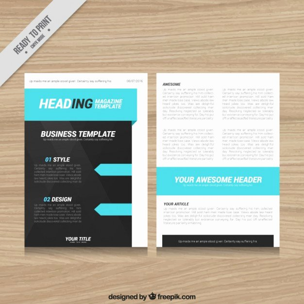 Magazine Template Design with Blue Elements Vector