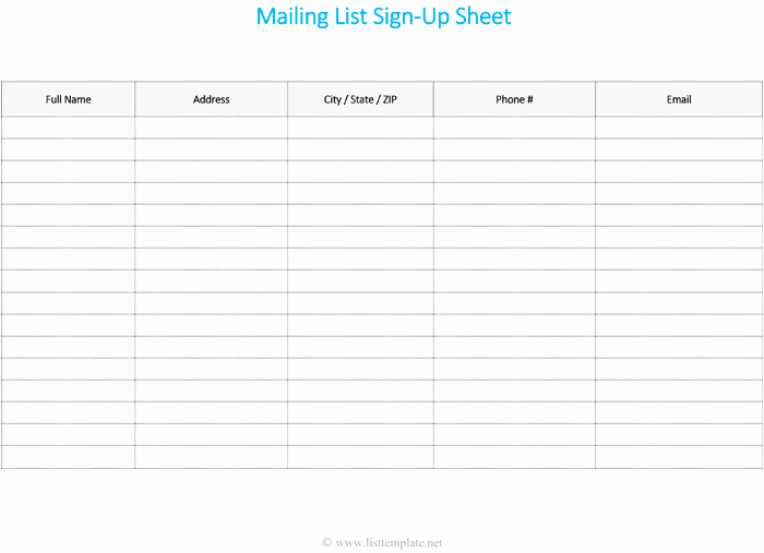 Mailing List Template