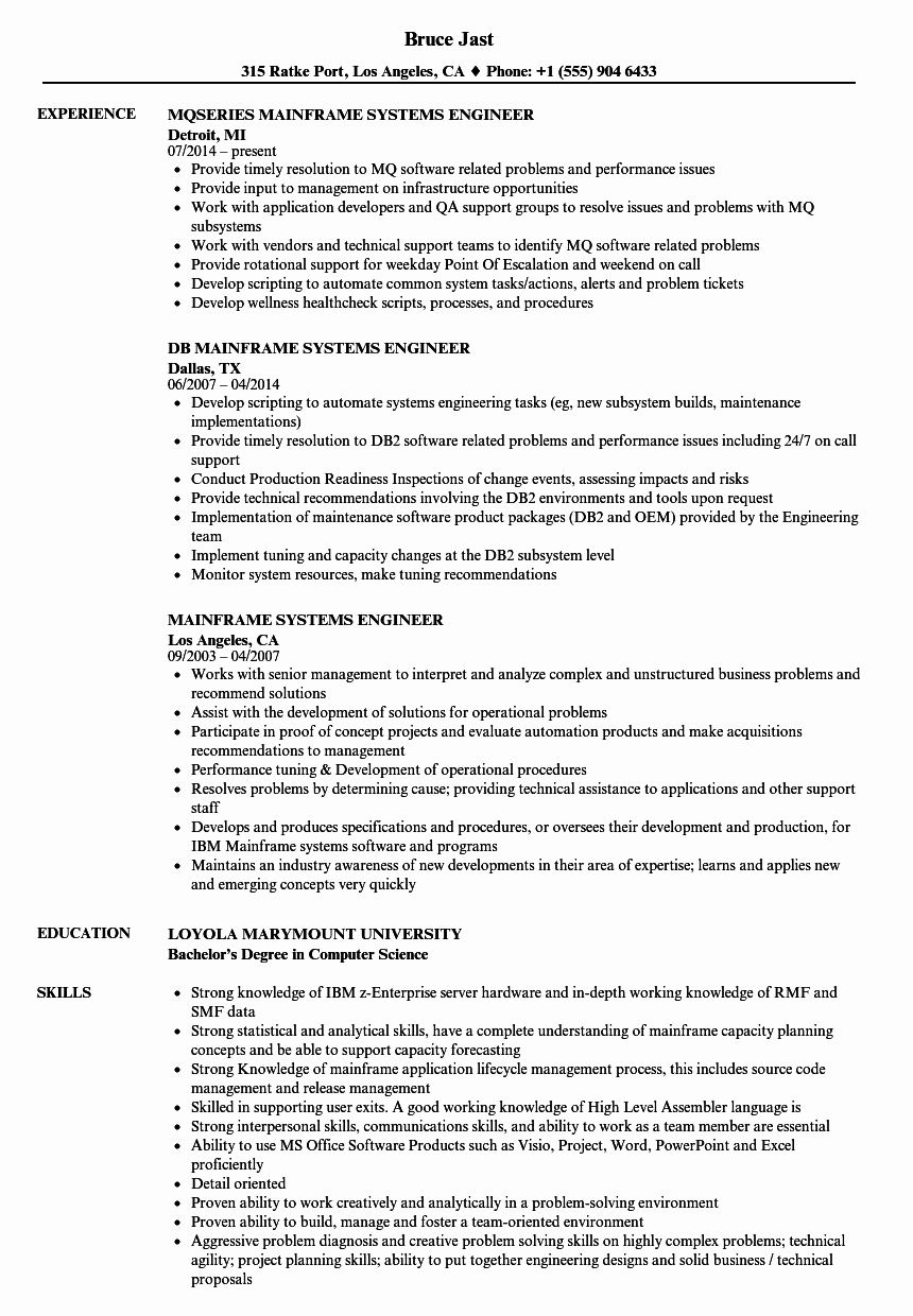 Mainframe Systems Engineer Resume Samples