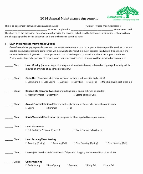 Maintenance Agreement Templates 8 Free Word Pdf format