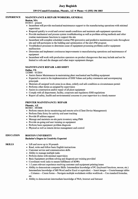 Maintenance & Repair Resume Samples