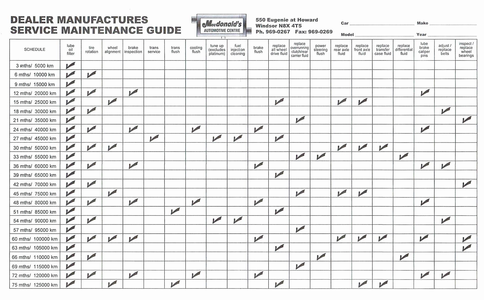 maintenance check sheet template