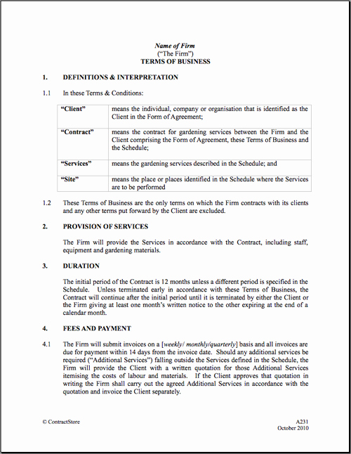 Maintenance Contract Agreement Free Printable Documents