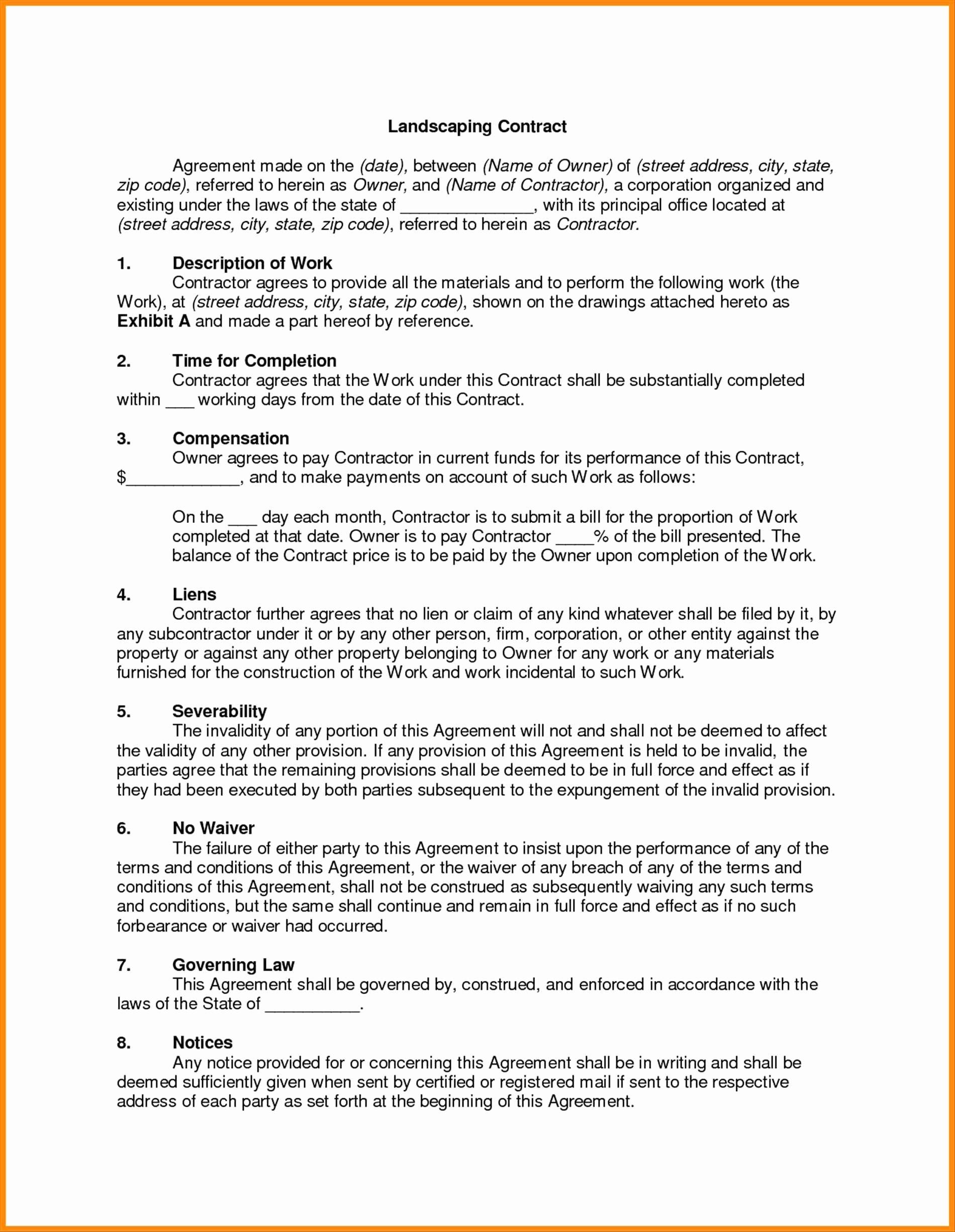 Maintenance Contract Sample Portablegasgrillweber
