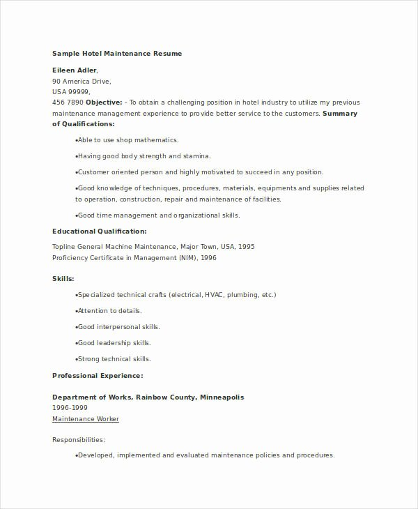 Maintenance Resume 9 Free Word Pdf Documents Download