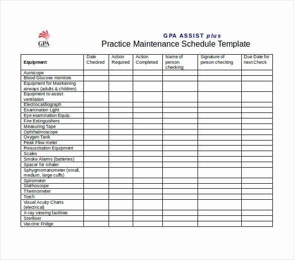 Maintenance Schedule Templates 35 Free Word Excel Pdf