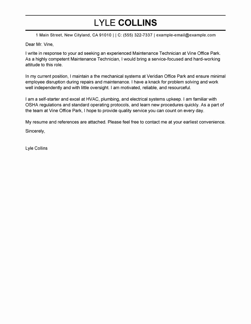Maintenance Technician Cover Letter Examples
