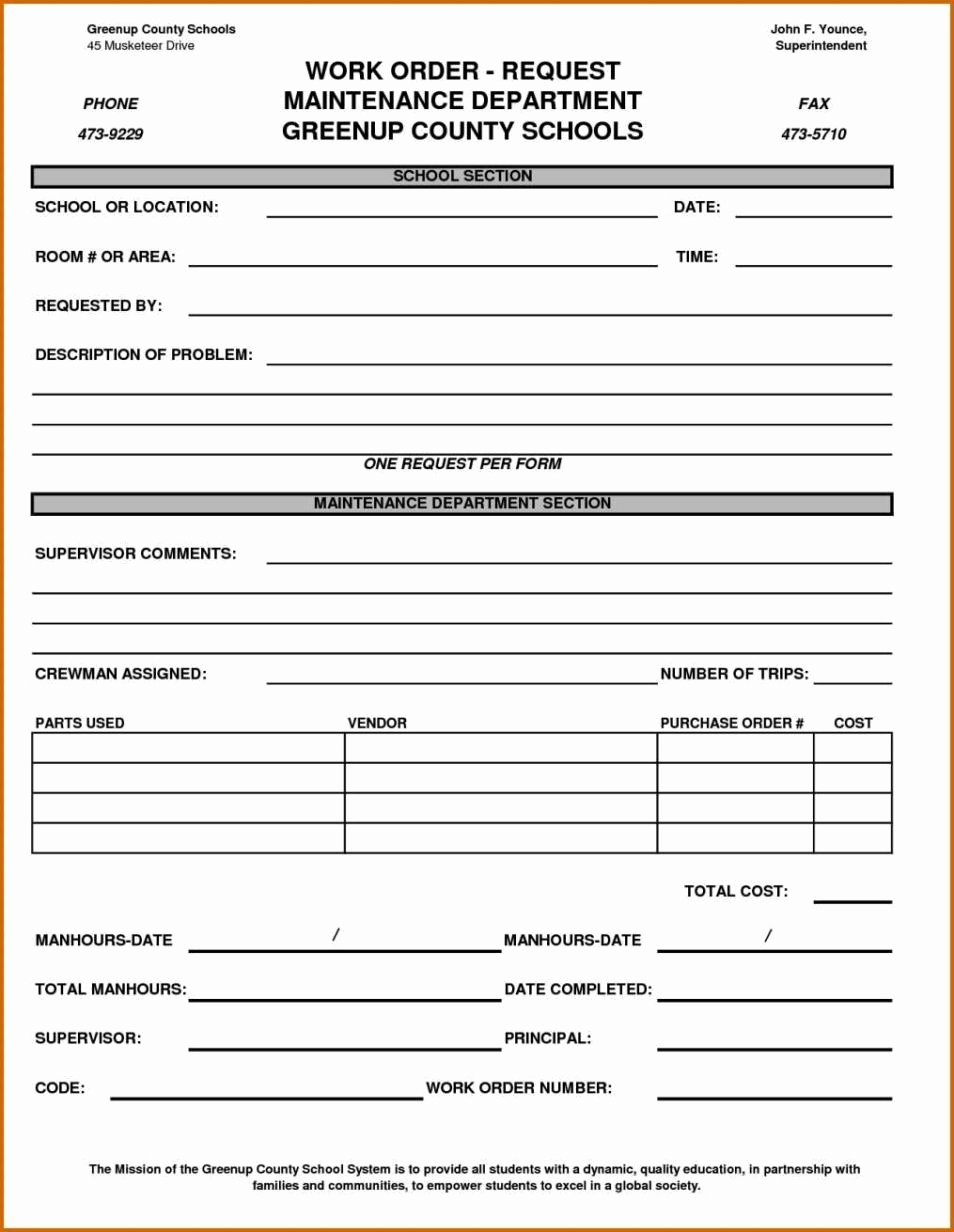 Maintenance Work order form Template Sampletemplatess