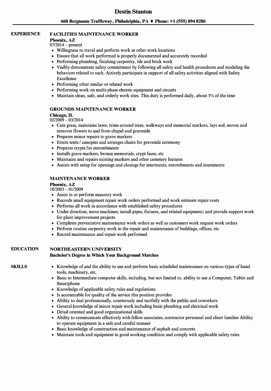 Maintenance Worker Resume Samples