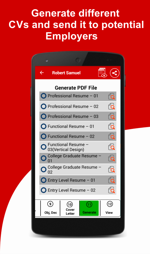 Make A Resume My android Phone