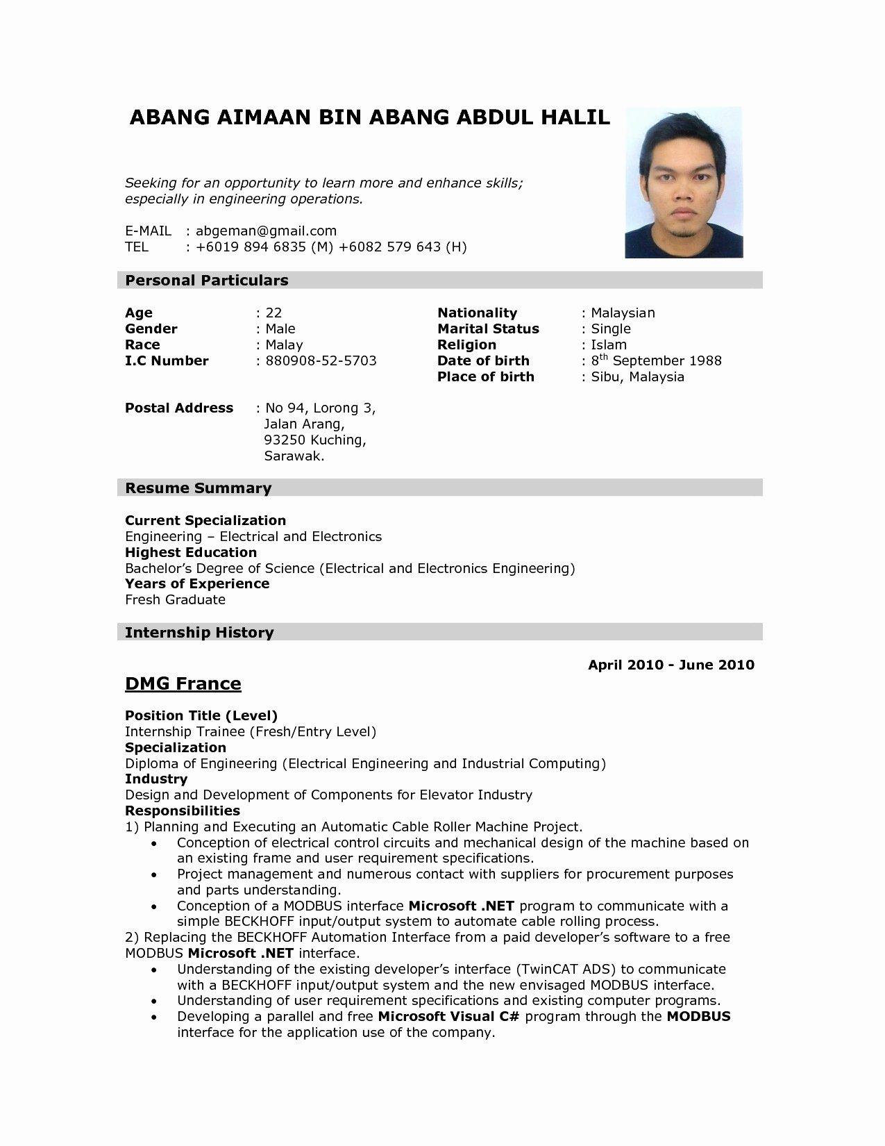 Make Resume Line for Freshers Lovely Line Cv Maker A