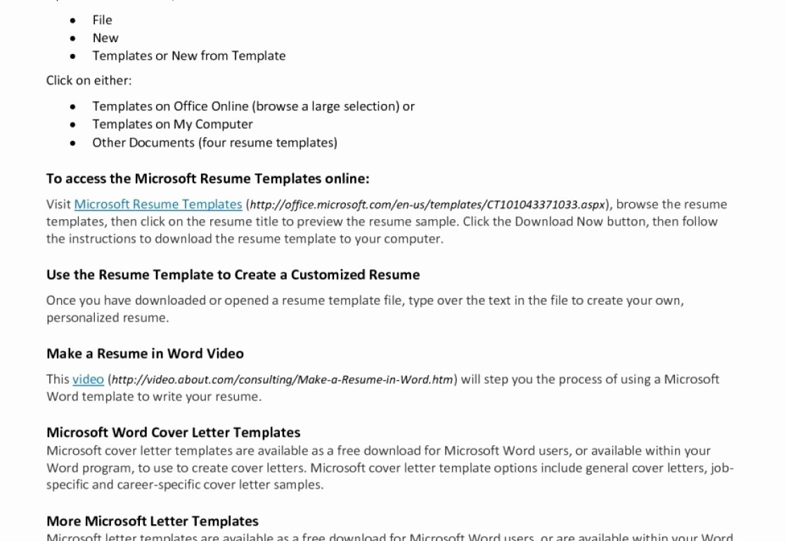Make Your Own Resume Microsoft Word