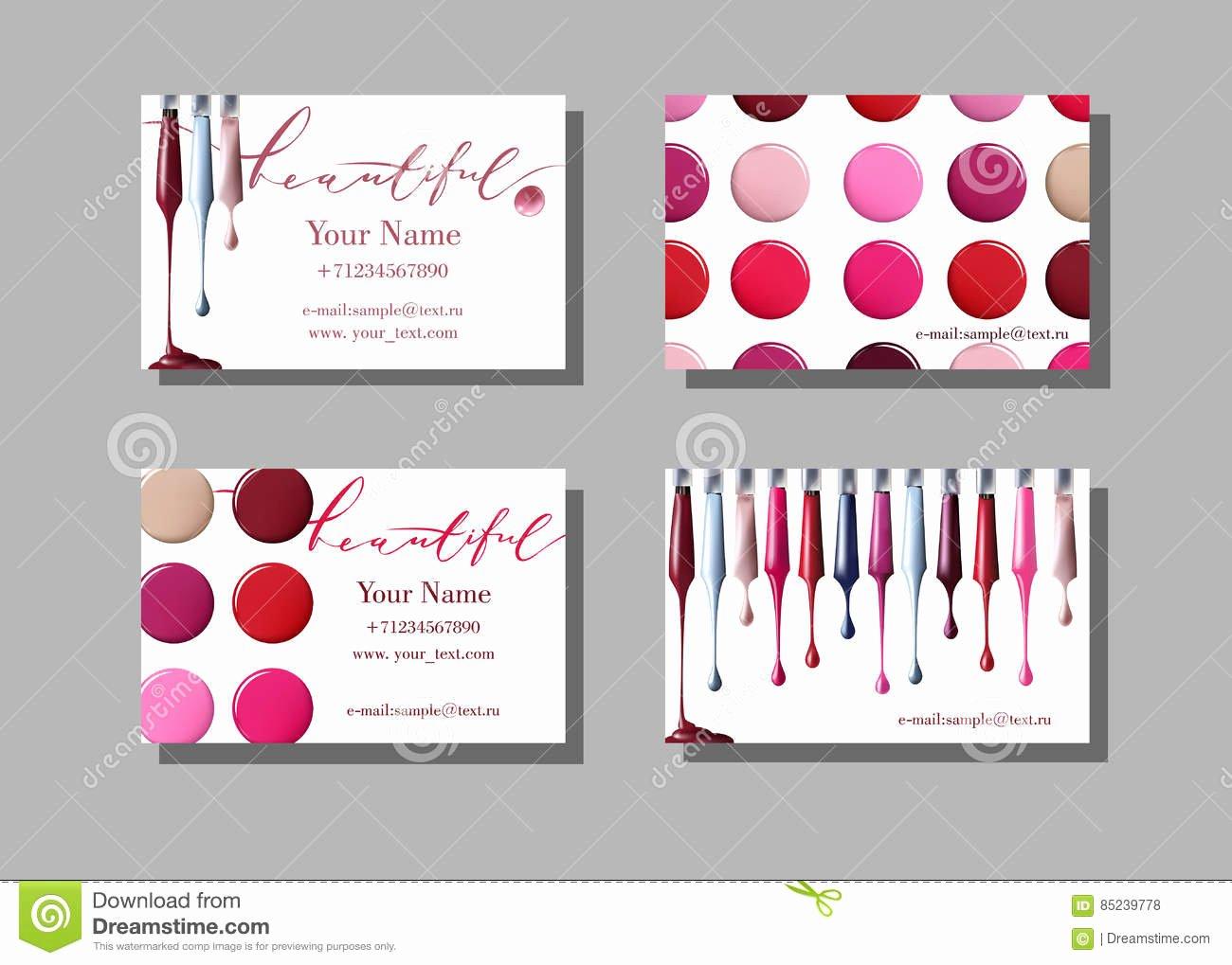 Makeup Artist Business Card Vector Template with Makeup
