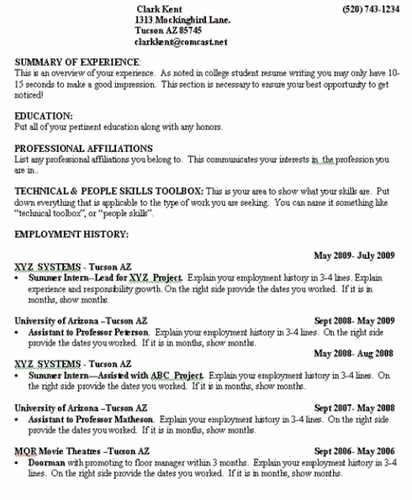 Making A College Resume Best Resume Collection