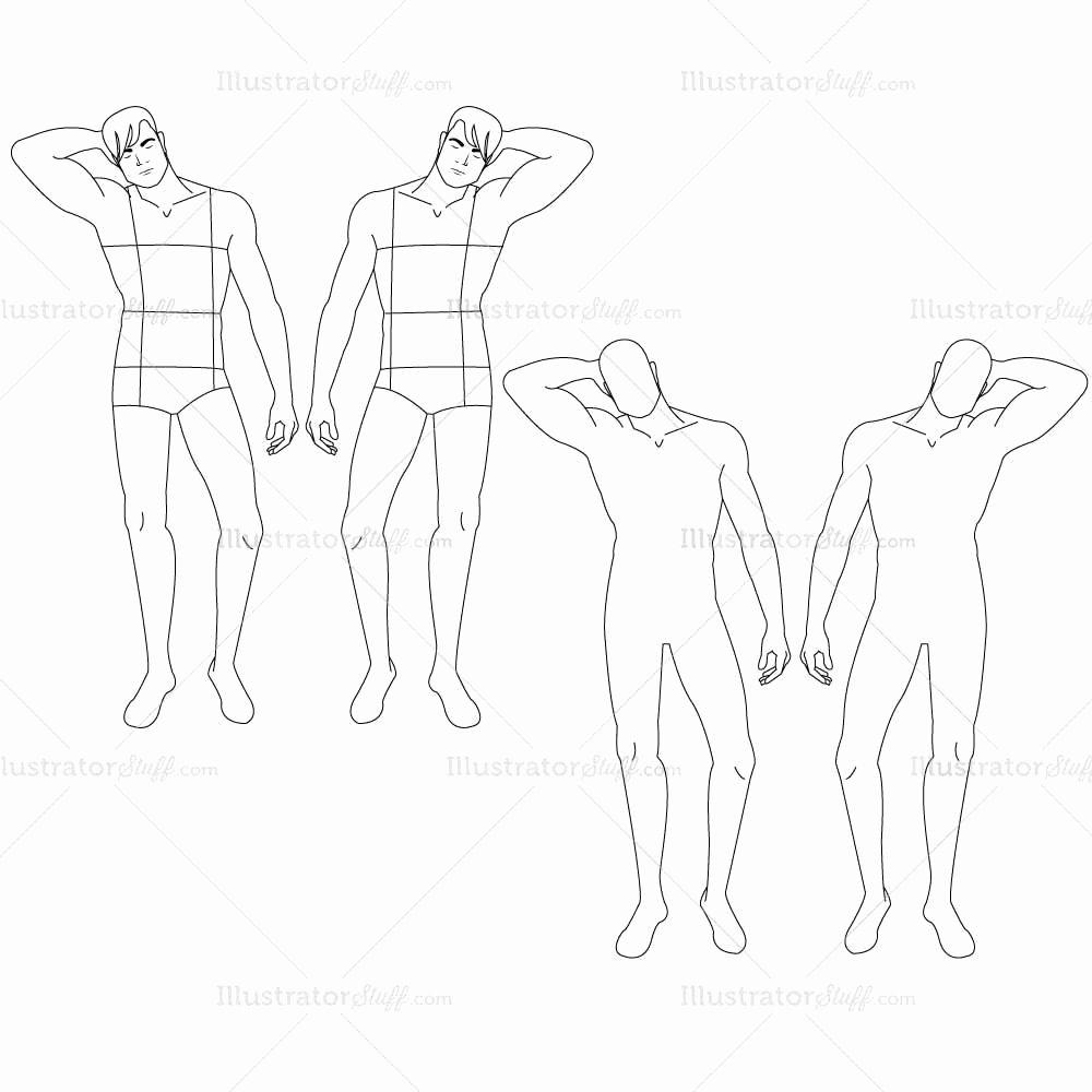 Male Fashion Croquis Template – Illustrator Stuff