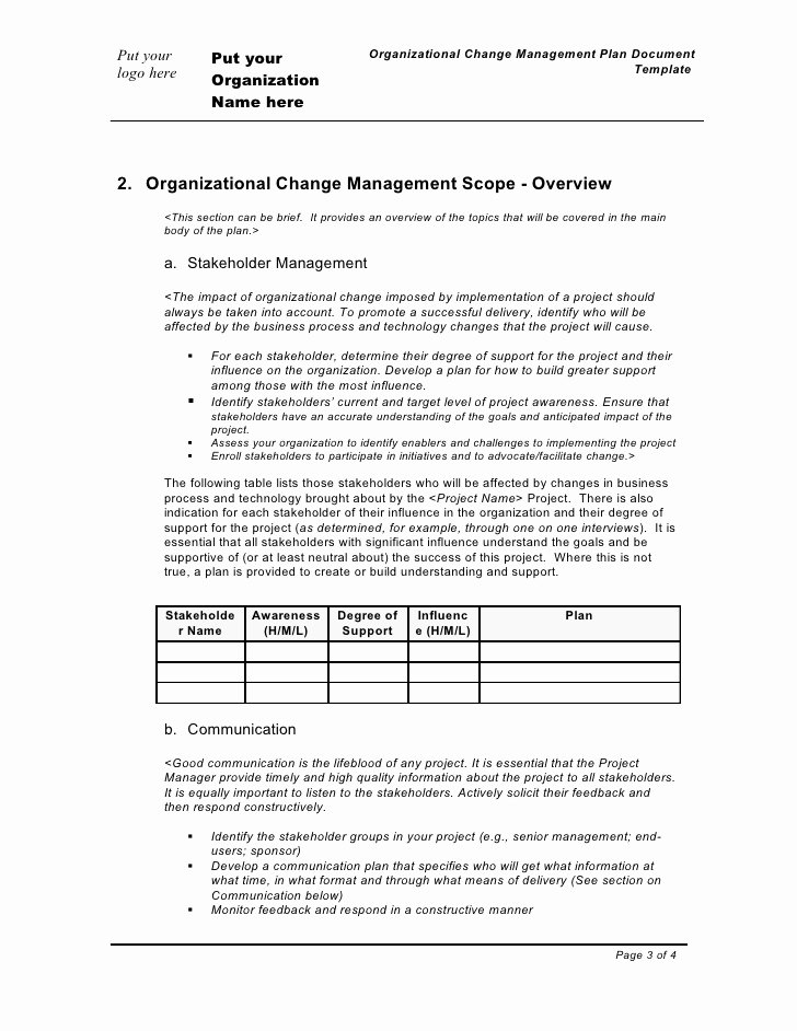 Management Implementation Plan Template to Pin On