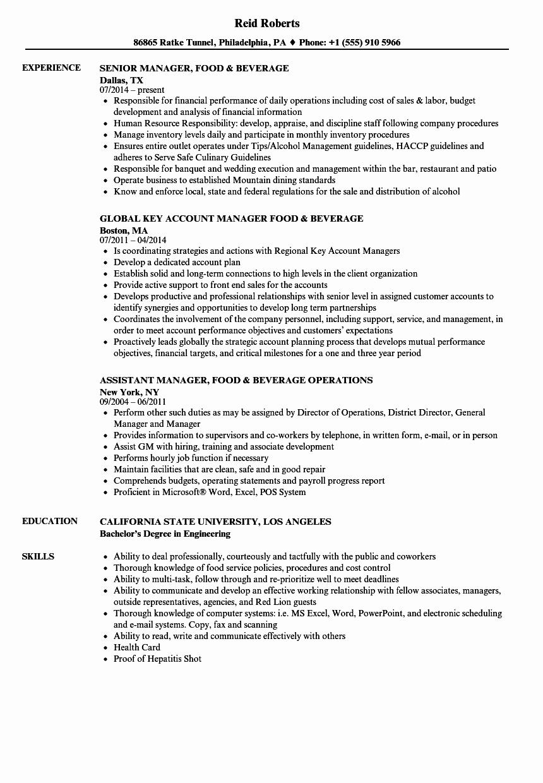 Manager Food & Beverage Resume Samples