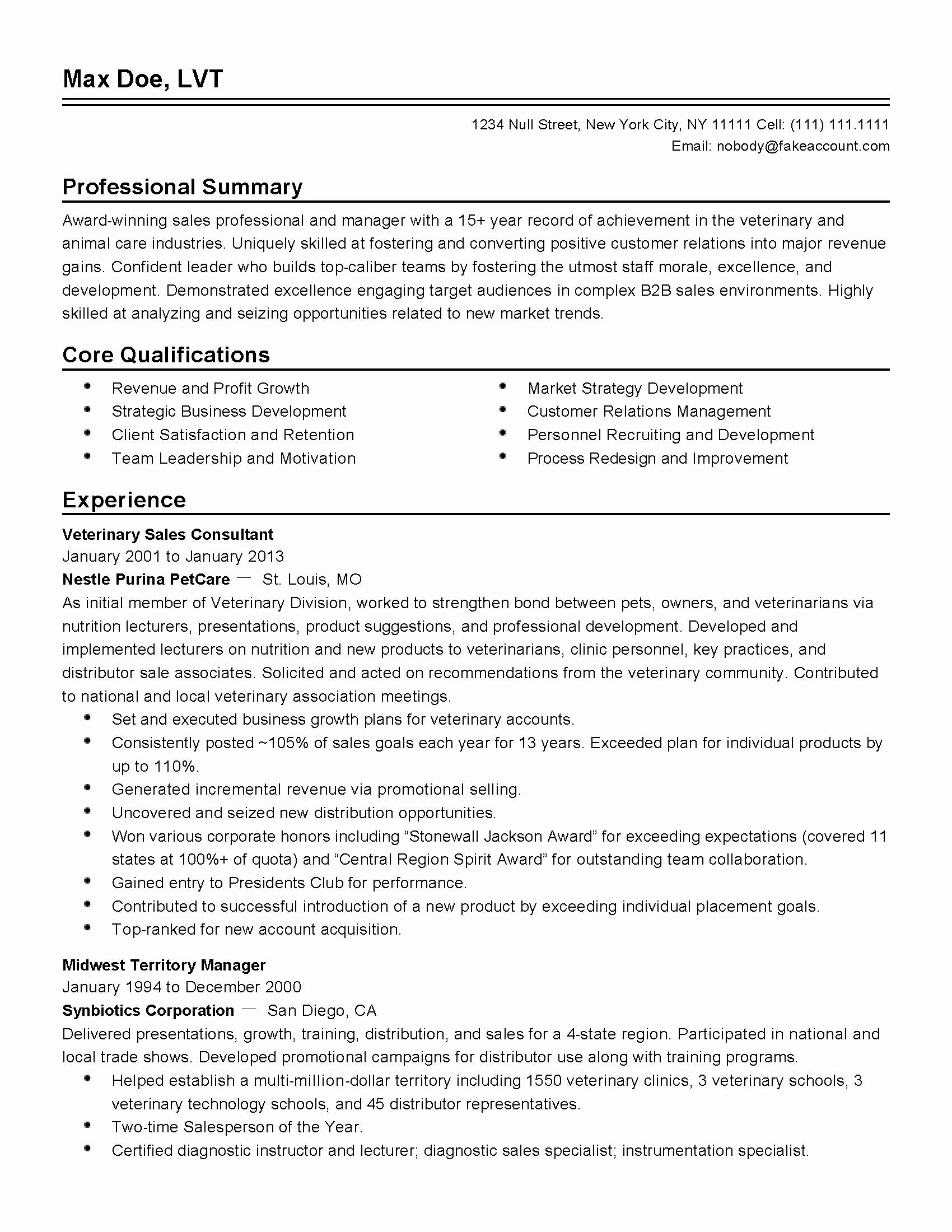 Manager National Radio Resume Sales