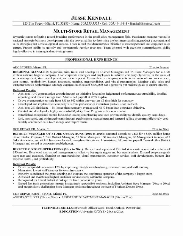 Manager Resume Objective Sample