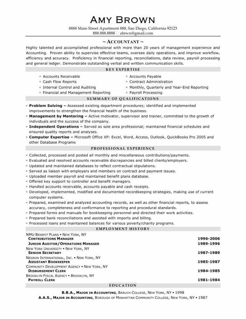 Manager Resume Template with Staff Accountant